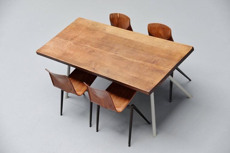 Mid-20th Century Industrial Dining Table Prouve Perriand Style, France, 1960 For Sale