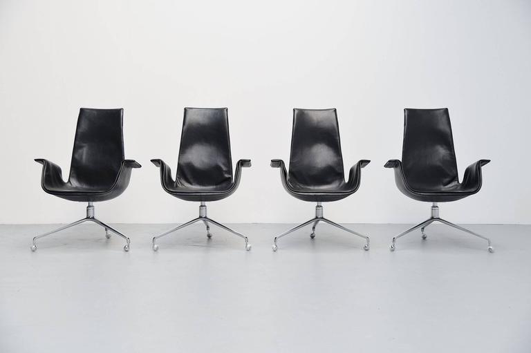 Fantastic set of four executive chairs model FK6725 designed by Preben Fabricius and Jorgen Kastholm, manufactured by Kill International, Germany, 1964. These chairs come from first owner who was very keen on them and can you imagine these are still