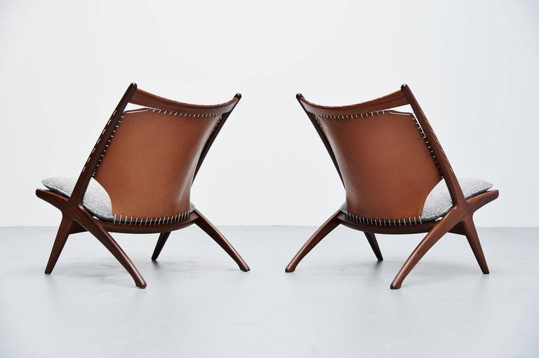 Scandinavian Modern Frederik Kayser Krysset Chairs, Gustav Bahus, Norway, 1955 For Sale