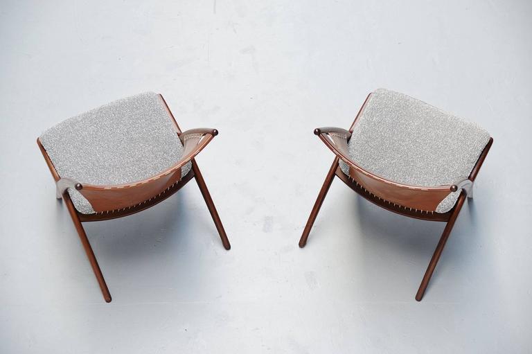 Leather Frederik Kayser Krysset Chairs, Gustav Bahus, Norway, 1955 For Sale