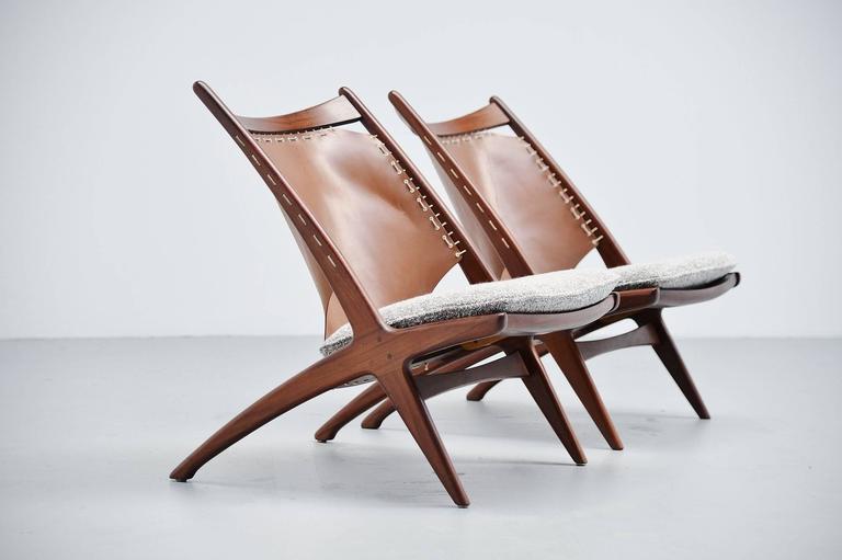 Mid-20th Century Frederik Kayser Krysset Chairs, Gustav Bahus, Norway, 1955 For Sale
