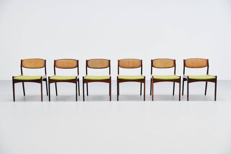 Scandinavian Modern Ib Kofod Larsen Chairs by Christian Linneberg Denmark, 1960 For Sale