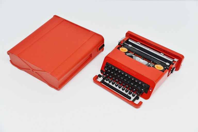 Early edition of the famous 'Valentine' typewriter designed by Ettore Sottsass Jr. and manufactured by Olivetti, Italy, 1969. This first edition was produced in Barcelona, the second edition was manufactured in Mexico. The Valentine typewriter was