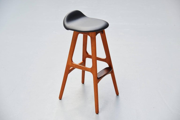 Erik Buck Teak Bar Stools Odense Møbler, Denmark, 1965 In Excellent Condition For Sale In Roosendaal, Noord Brabant