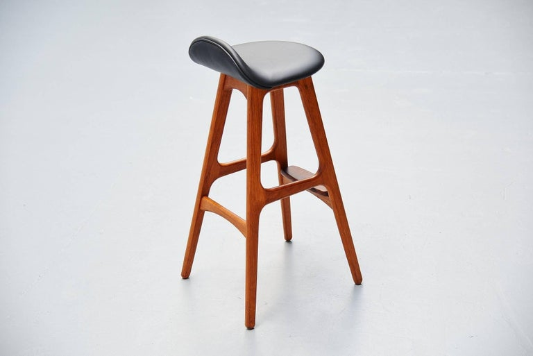 Leather Erik Buck Teak Bar Stools Odense Møbler, Denmark, 1965 For Sale