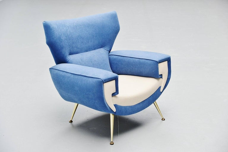 Large Italian Club Chairs in Velvet Upholstery, Italy, 1960 For Sale 4