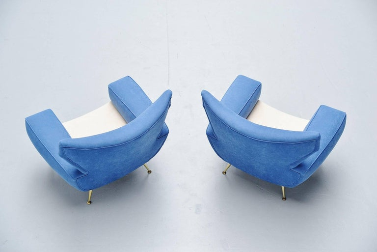 Mid-Century Modern Large Italian Club Chairs in Velvet Upholstery, Italy, 1960 For Sale