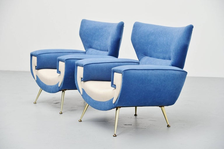 Brass Large Italian Club Chairs in Velvet Upholstery, Italy, 1960 For Sale