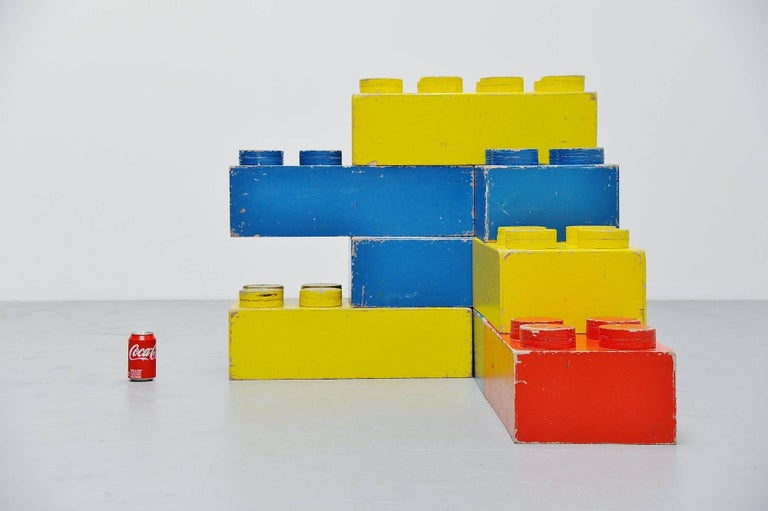 Very nice set of eight decorative Lego cubes, Holland, 1960. These cubes were probably seld made but have very nice proportions. Eight large cubes can be used for decoration or you can build a table or console of it. The cubes are painted in the