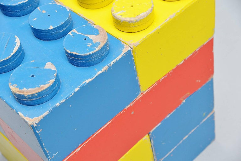 Hand-Painted Large Decorative Lego Cubes Holland, 1960 For Sale