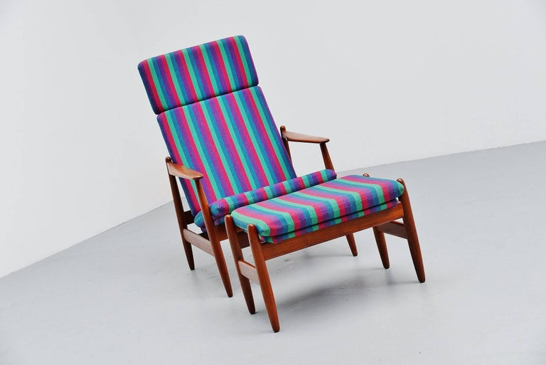 Rare lounge chair designed by Poul M. Volther and manufactured by Frem Røjle, Denmark, 1960. The chair has a solid teak wooden frame and has its original striped upholstery. The chair is in amazing condition there is only a small repair to the top