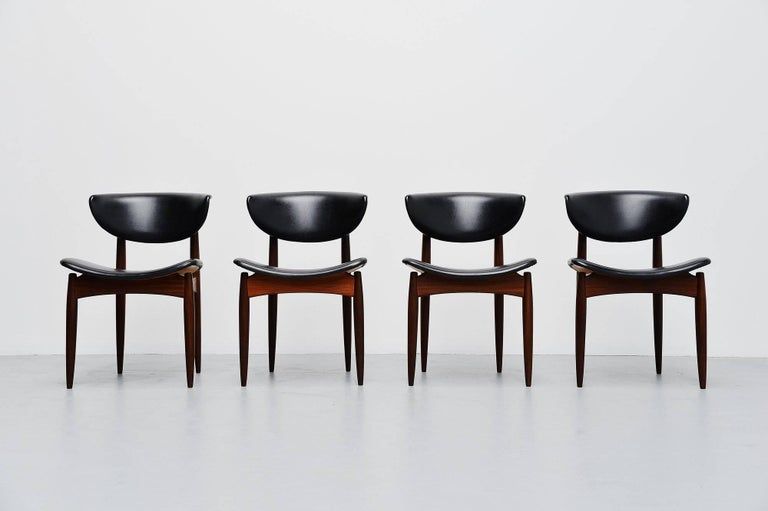 Danish Dining Chairs In Teak And Faux Leather Denmark