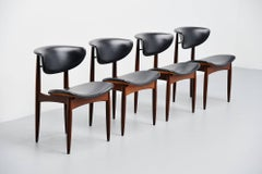 Danish dining chairs in teak and faux leather Denmark 1960