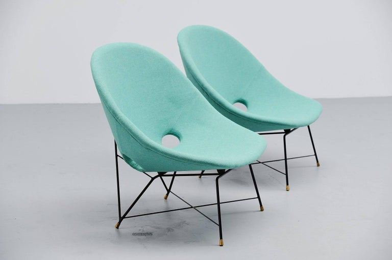 Augusto Bozzi Cosmos Lounge Chairs Saporiti Italia, 1954 In Excellent Condition For Sale In Roosendaal, Noord Brabant