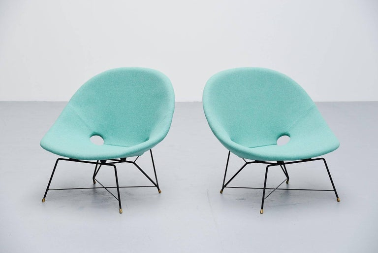 Cold-Painted Augusto Bozzi Cosmos Lounge Chairs Saporiti Italia, 1954 For Sale