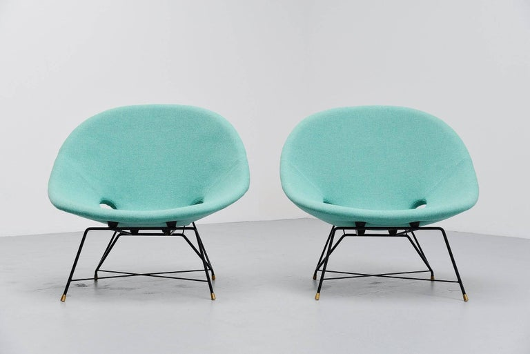 Mid-20th Century Augusto Bozzi Cosmos Lounge Chairs Saporiti Italia, 1954 For Sale
