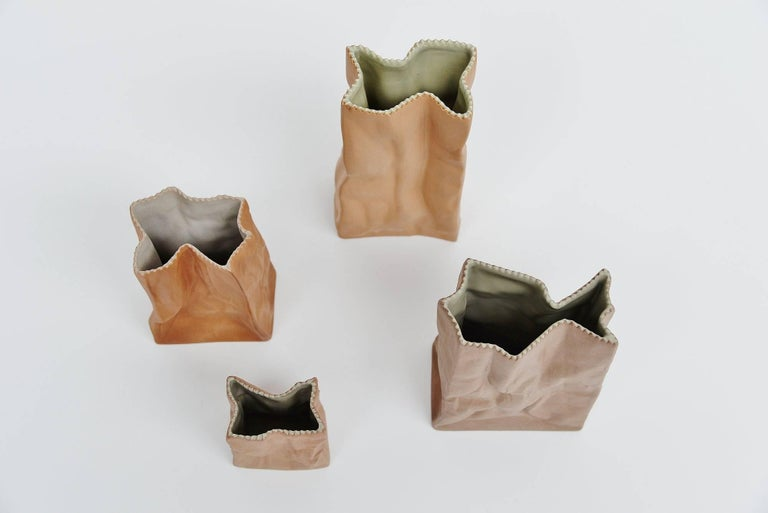 Late 20th Century Tapio Wirkkala Paper Bag Vases Rosenthal, Germany, 1977 For Sale