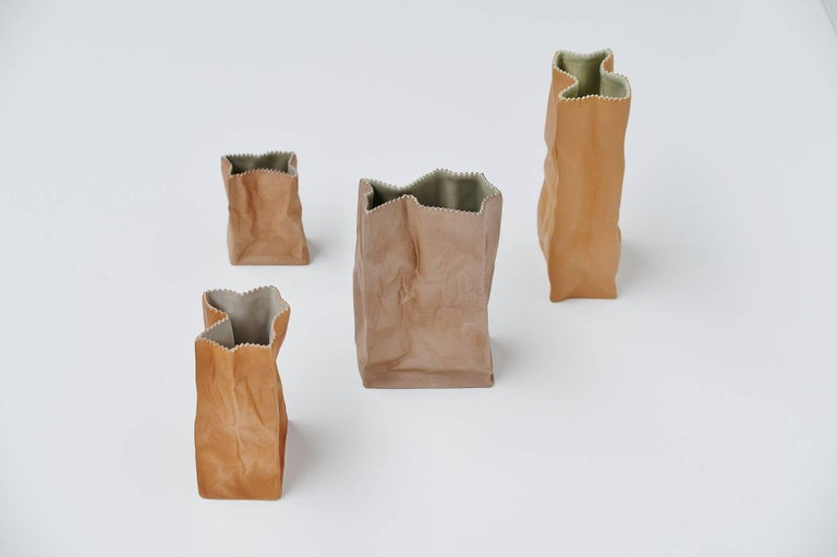 Tapio Wirkkala Paper Bag Vases Rosenthal, Germany, 1977 In Excellent Condition For Sale In Roosendaal, Noord Brabant