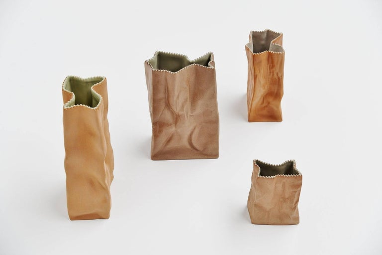 Mid-Century Modern Tapio Wirkkala Paper Bag Vases Rosenthal, Germany, 1977 For Sale