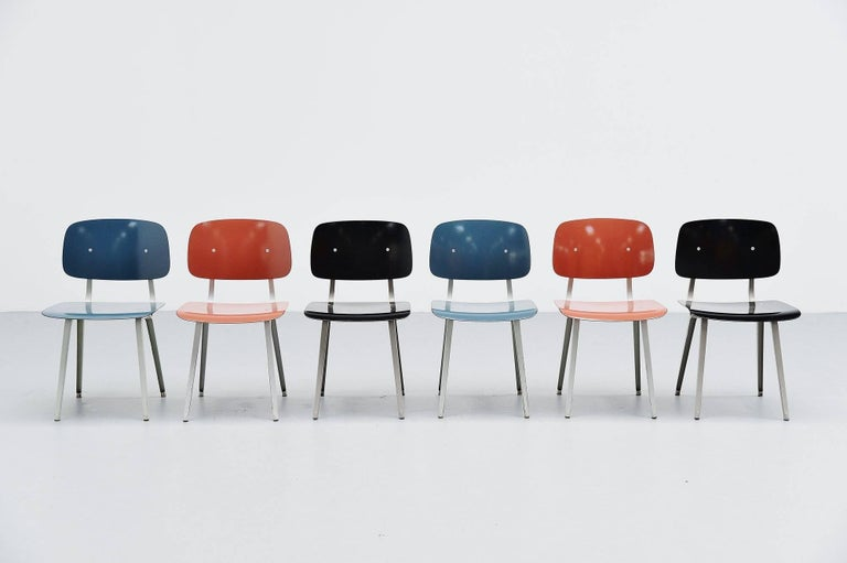 Nice set of six Revolt chairs designed by Friso Kramer for Ahrend de Cirkel, Holland 1953. Though the Revolt chair was already designed in 1953, the production started in 1958. The chairs have a folded metal base which is very strong and a ciranol