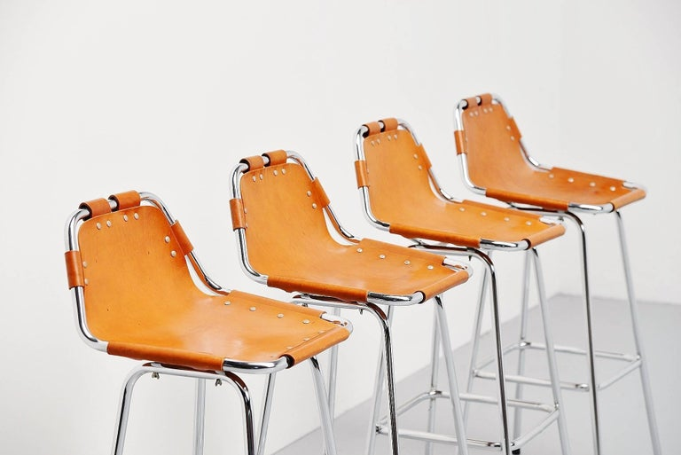 Leather Les Arcs Bar Stools Used by Charlotte Perriand, 1960 For Sale