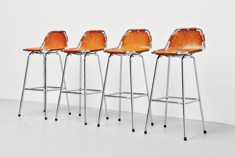 Les Arcs Bar Stools Used by Charlotte Perriand, 1960 In Excellent Condition For Sale In Roosendaal, Noord Brabant