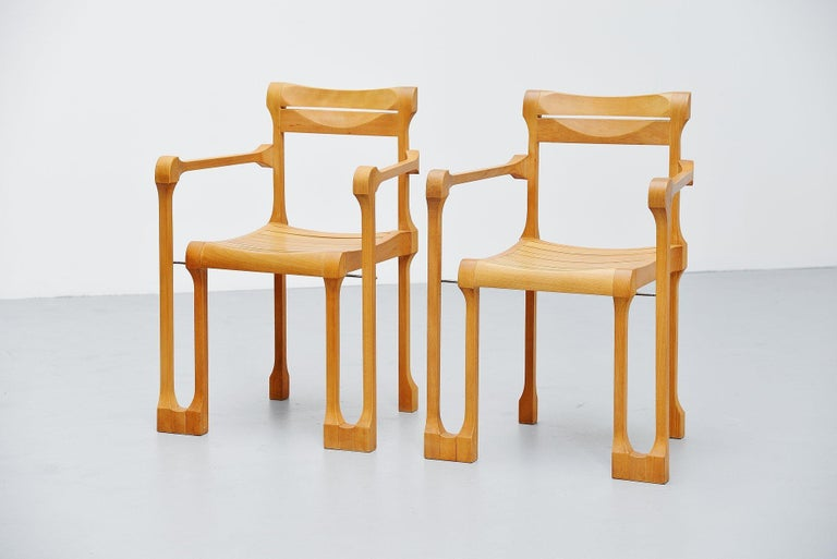 Very nice pair of armchairs designed and manufactured by Ruud Jan Kokke, Holland 1990. These chairs are from the 'pootjes' series and were hand crafted in Ruud Jan Kokke's atelier and only made upon request. The chairs and stools from these series