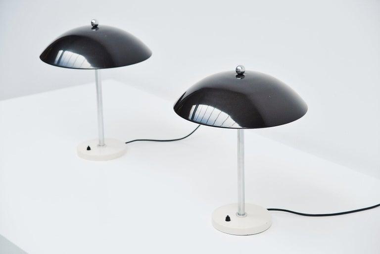 Mid-20th Century Wim Rietveld Mushroom Table Lamp Pair Gispen 1950 For Sale