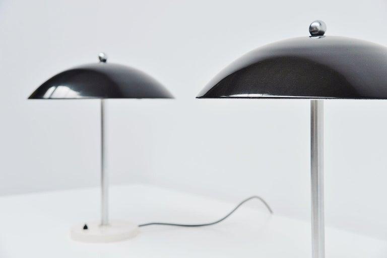 Metal Wim Rietveld Mushroom Table Lamp Pair Gispen 1950 For Sale
