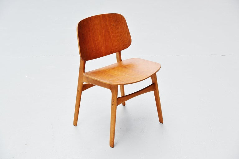 Borge Mogensen Soborg Dining Chairs Denmark 1950 In Good Condition For Sale In Roosendaal, Noord Brabant
