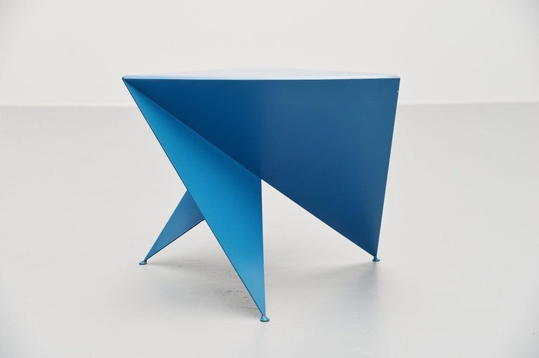 Cold-Painted Ronald Willemsen Blue Side Table Rotterdam, 1982 For Sale