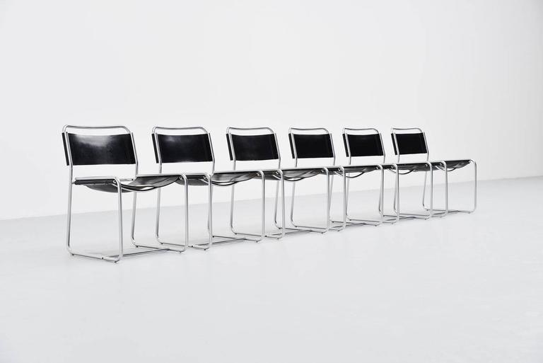 Nice set of 6 dining chairs designed by Claire Bataille & Paul Ibens for 't Spectrum, Holland 1971. These chairs were designed by the French/Balgian couple who were attracted by Martin Visser for 't Spectrum in the 1970s. They designed several very