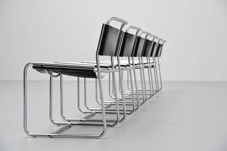 Brushed Claire Bataille & Paul Ibens dining chairs 't Spectrum 1971 For Sale