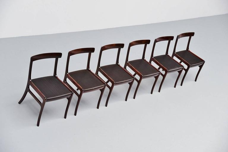 Ole Wanscher Rungstedlund chairs in Mahogany Denmark 1950 4