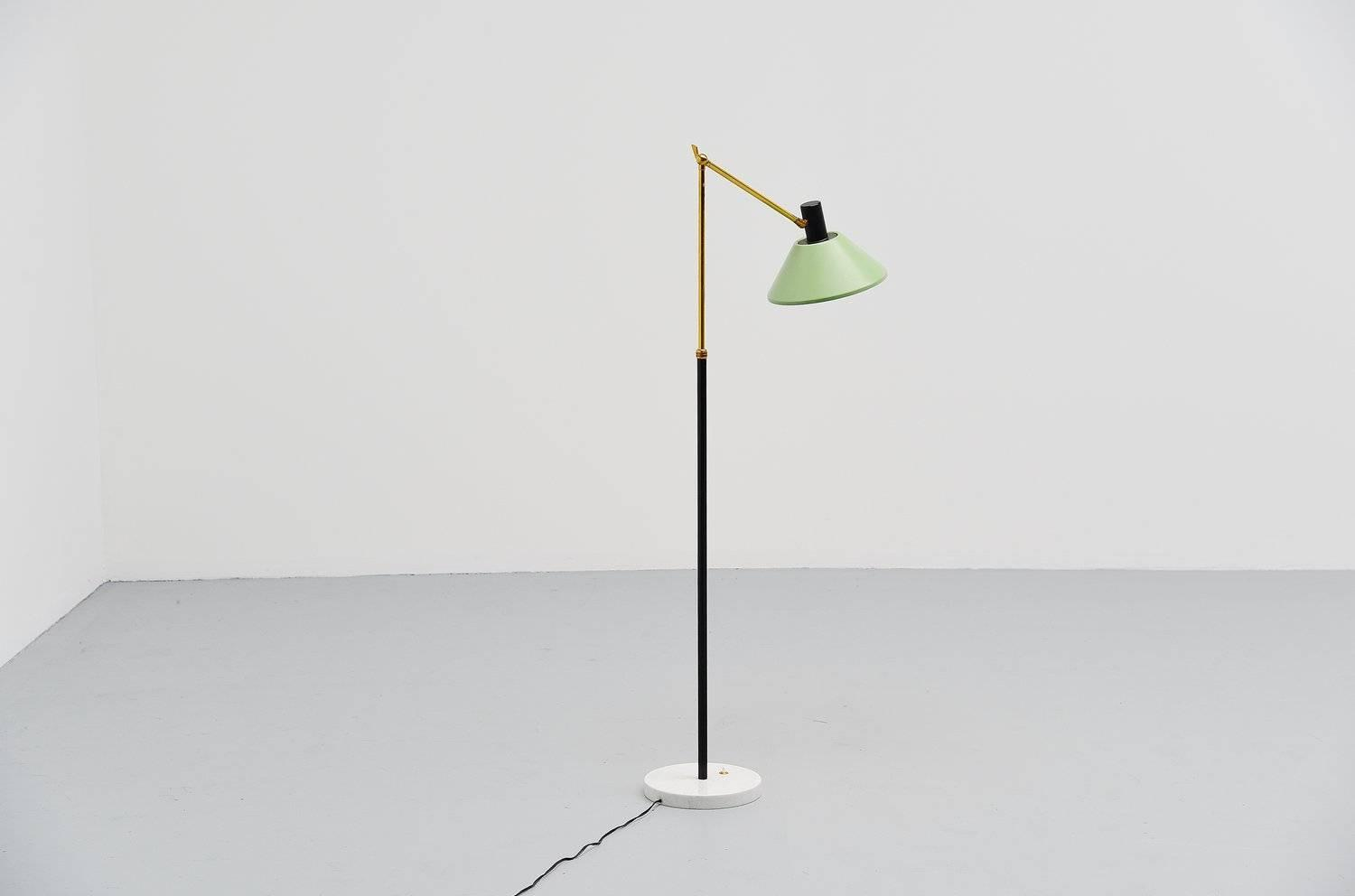 stilux floor lamp with marble base italy 1950 at 1stdibs