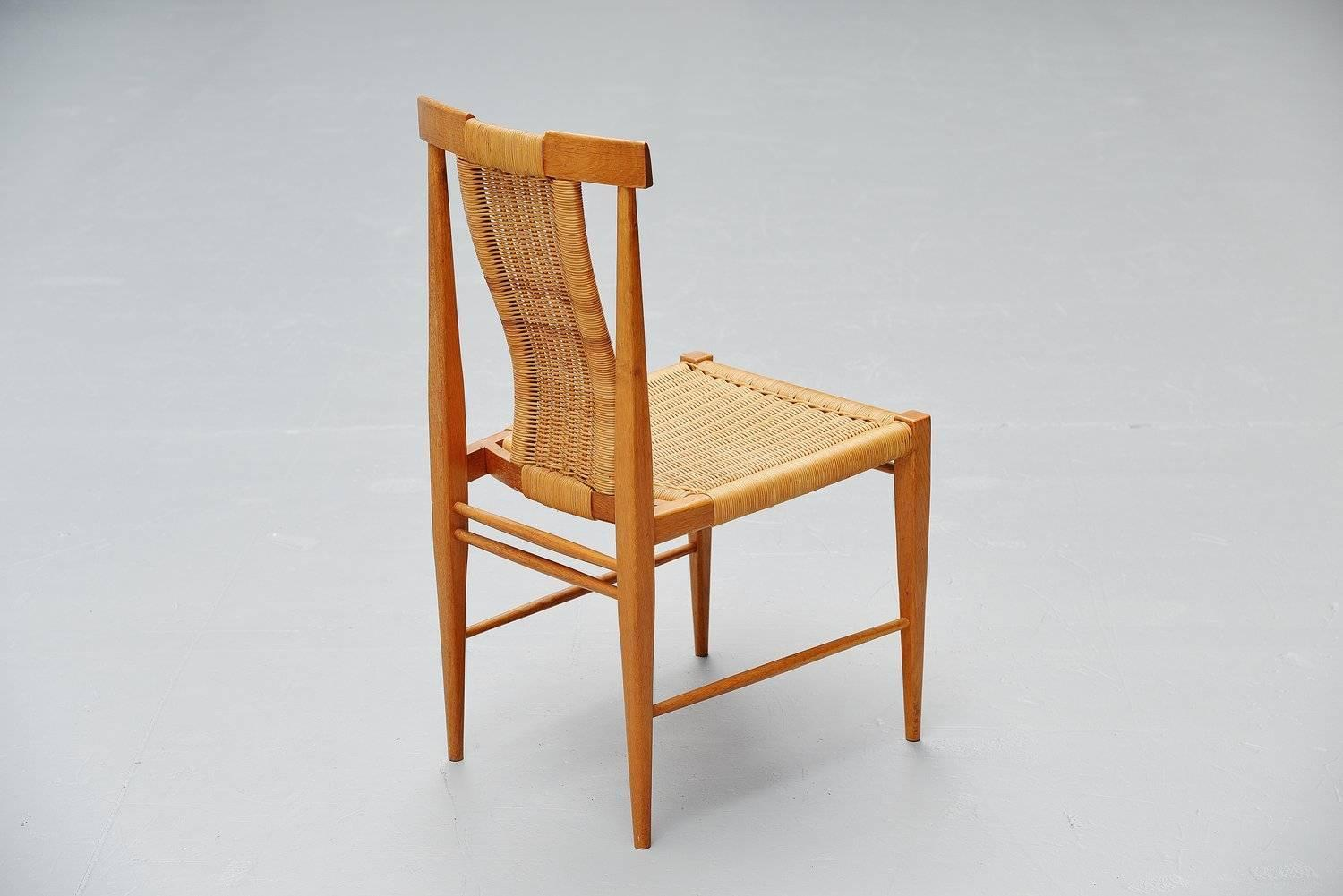 Belgian Dining Chair Set In Oak And Cane 1955 At 1stdibs. Full resolution  image, nominally Width 1500 Height 1001 pixels, image with #AD5213.