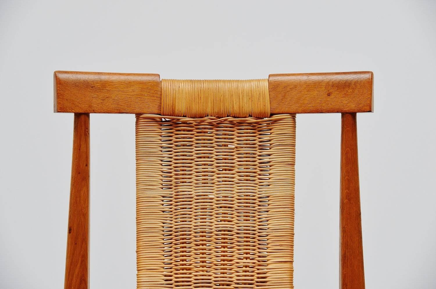 Belgian Dining Chair Set In Oak And Cane 1955 At 1stdibs. Full resolution  image, nominally Width 1500 Height 996 pixels, image with #AE5015.
