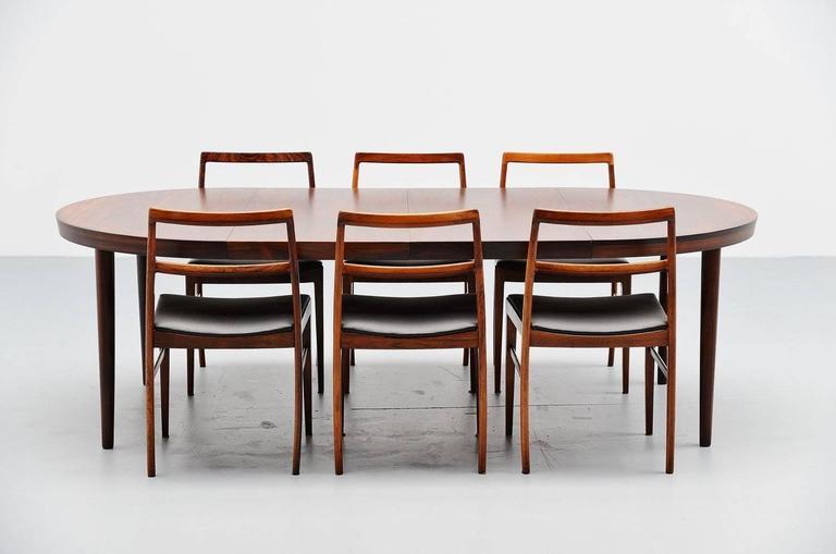 Kai Kristiansen Oval Rosewood Dining Table Denmark 1960