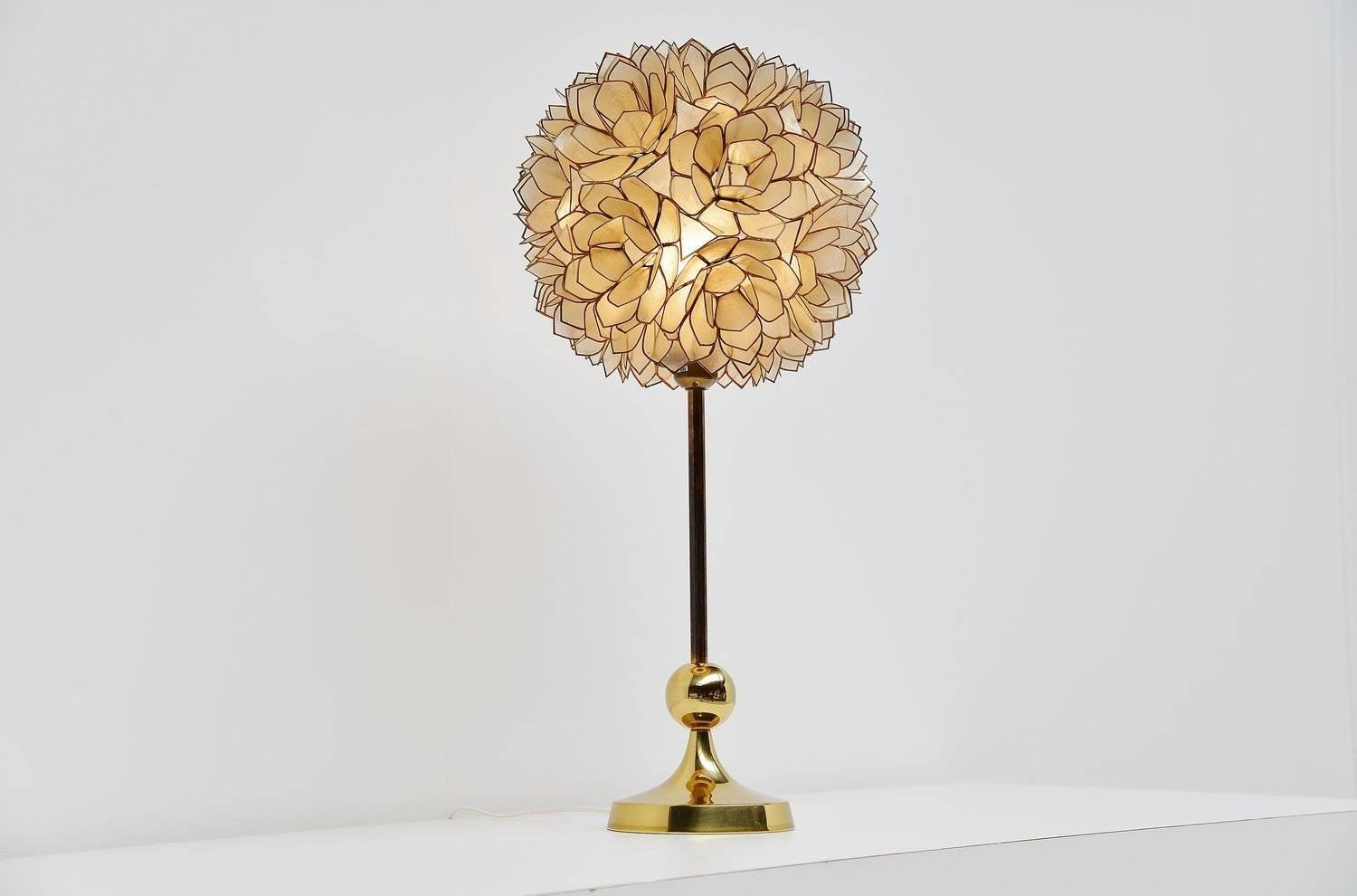 mother of pearl table lamp belgium 1970 at 1stdibs. Black Bedroom Furniture Sets. Home Design Ideas