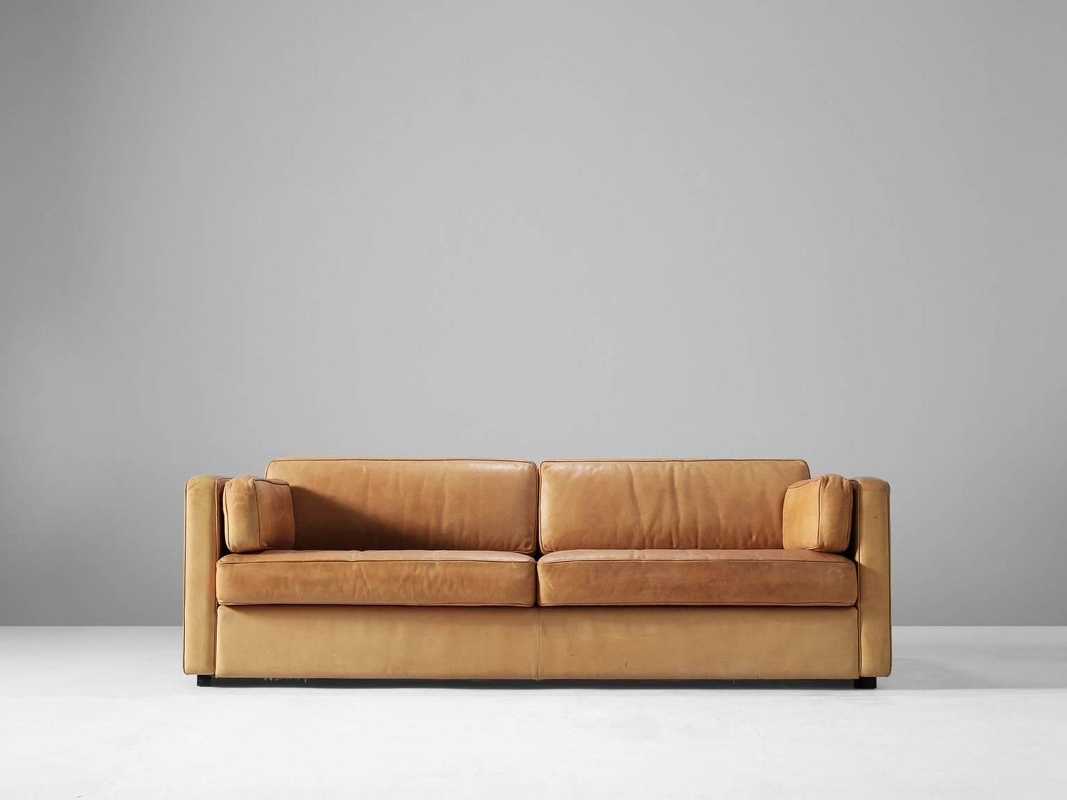 three seat sofa in cognac leather at 1stdibs. Black Bedroom Furniture Sets. Home Design Ideas