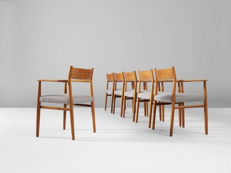 Danish Arne Vodder Set of Six Dining Chairs in Walnut