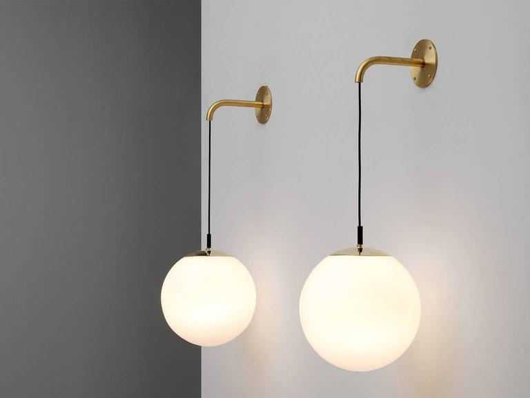 Large Glass Wall Lights : Large Set of Wall Lights in Brass and Opaline Glass For Sale at 1stdibs