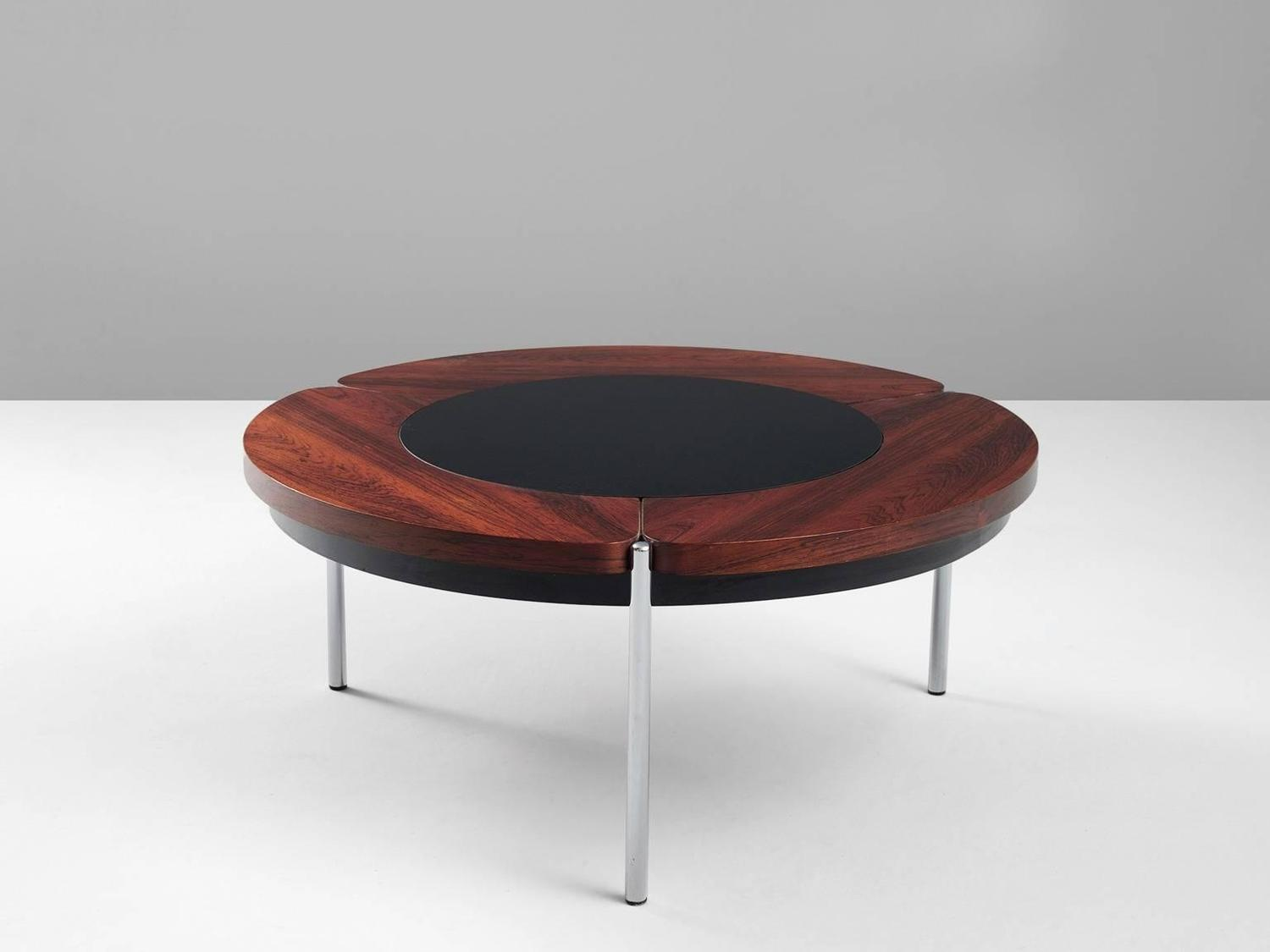 Round coffee table in rosewood and glass for sale at 1stdibs for Round glass coffee tables for sale