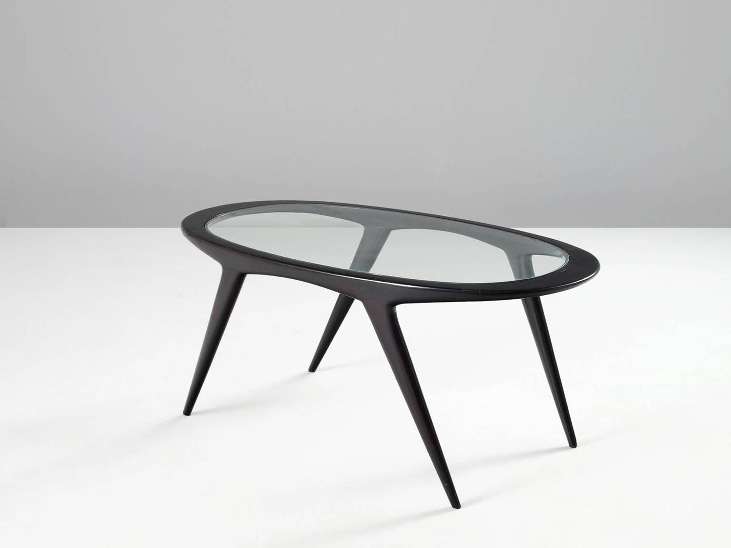 Black Ebonized Cocktail Table With Oval Glass Top For Sale At 1stdibs