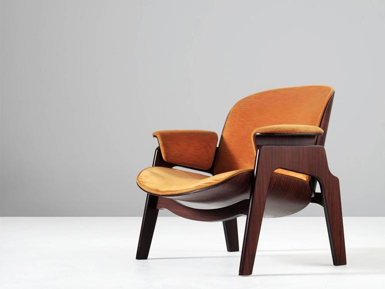 MIM Roma, Rosewood, Fabric, Italy, 1960s. Armchair With Rosewood Frame And