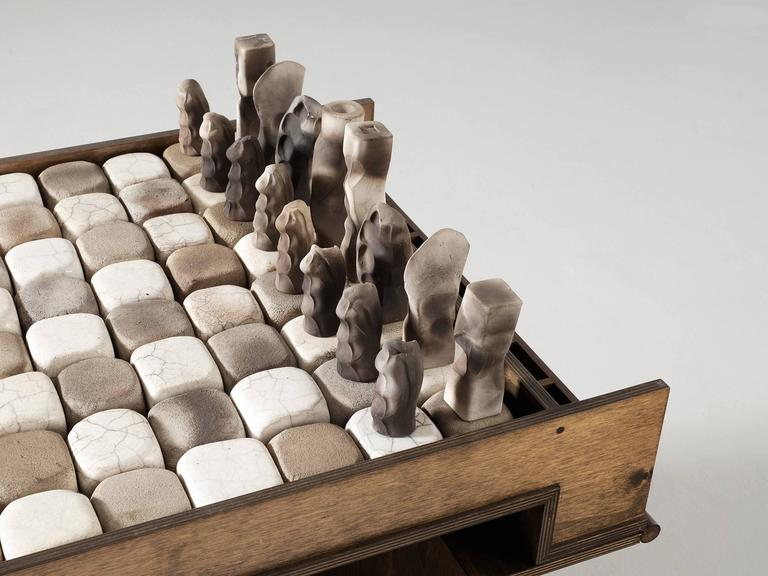 Exceptional Ceramic Chess Set and Table For Sale at 1stdibs