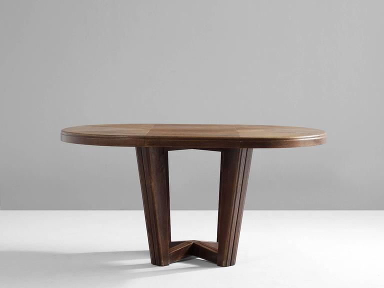 small oval dining table in solid oak at 1stdibs. Black Bedroom Furniture Sets. Home Design Ideas