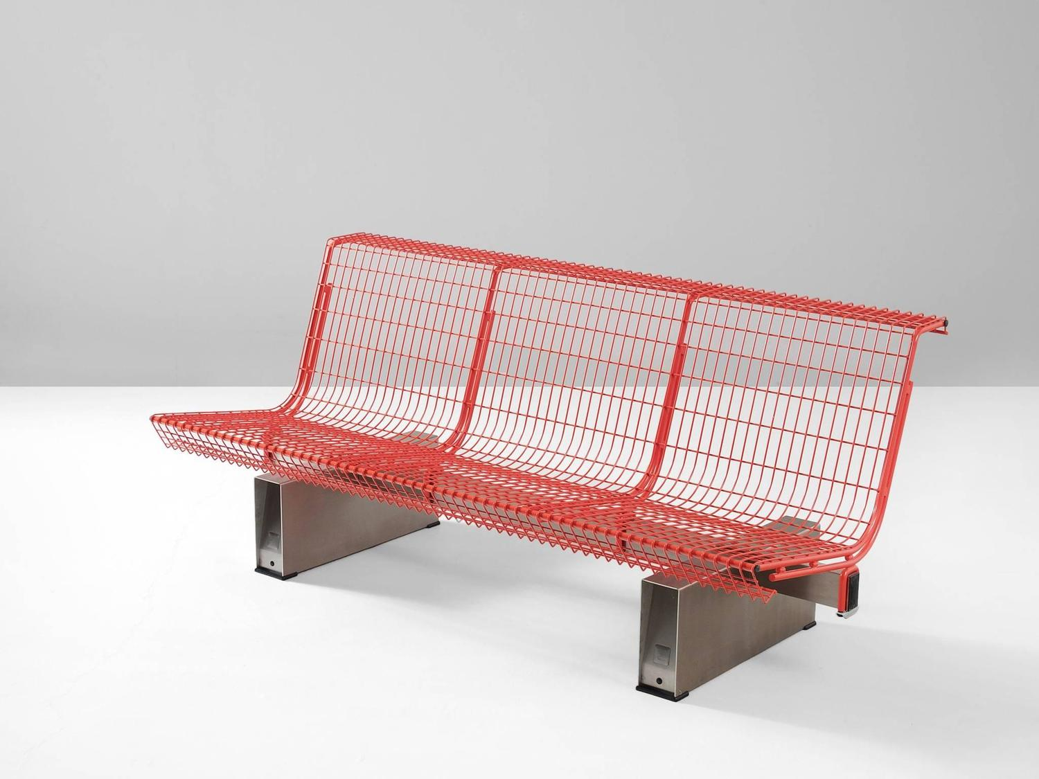 Osvaldo Borsani Red Metal Bench For Tecno For Sale At 1stdibs