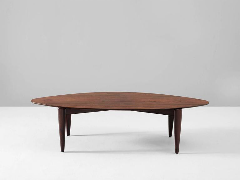 Coffee Table In Rosewood Denmark 1950s Beautiful Organic Shaped
