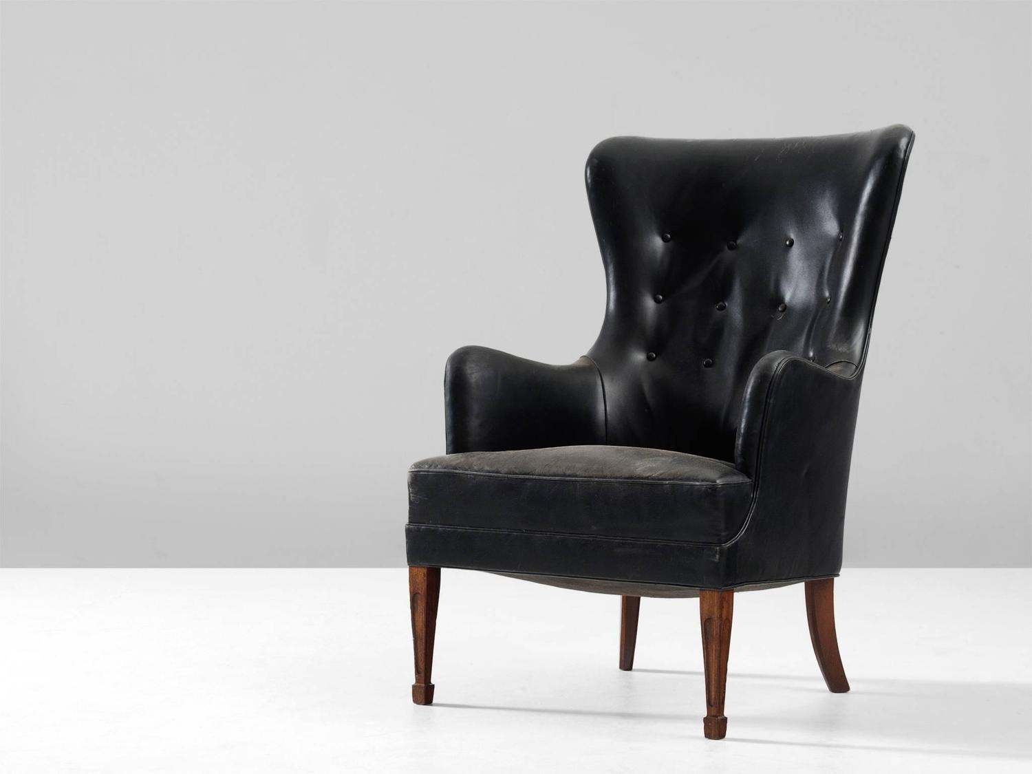 Frits Henningsen Wingback Chair in Mahogany and Black